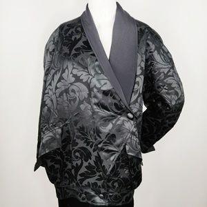 Vintage ESCADA Silk Damask Black Kimono Jacket